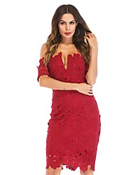cheap -Women's Vintage / Elegant Bodycon Dress - Solid Colored Lace / Cut Out / Ripped