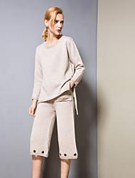 abordables -Mujer Básico Conjunto - Un Color, Ahuecado Pantalón