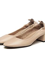 Недорогие -Жен. Обувь Кожа Лето Мокасины Мокасины и Свитер На толстом каблуке Круглый носок Черный / Миндальный