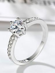 abordables -Femme Stylé / Solitaire Bague - Platiné, Imitation Diamant Précieux Original, Branché, Elégant 5 / 6 / 7 Argent Pour Formel / Travail