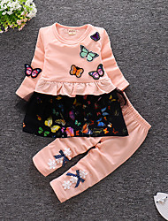 baratos -bebê Para Meninas Casual / Activo Para Noite Borboleta Floral Frufru Manga Longa Algodão Conjunto / Bébé