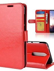 Недорогие -Кейс для Назначение Nokia Nokia 7 Plus / Nokia X6 Кошелек / Бумажник для карт / Флип Чехол Однотонный Твердый Кожа PU для Nokia 8 / 8 Sirocco / Nokia 7