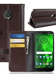 cheap -Case For Motorola MOTO G6 / Moto G6 Play Wallet / Card Holder / Flip Full Body Cases Solid Colored Hard Genuine Leather for Moto Z2 play / Moto X4 / MOTO G6