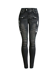 preiswerte -Damen Aktiv Jeans Hose Solide Schwarz & Rot / Schwarz & Weiß