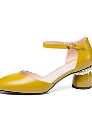 cheap -Women's Shoes Nappa Leather Spring & Summer Comfort Heels Chunky Heel Pointed Toe Imitation Pearl White / Yellow