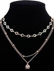 billiga -Dam Kubisk Zirkoniumoxid Lager-på-lager Lager Halsband - Stilig, Klassisk Guld 32+10 cm Halsband Smycken 1st Till Dagligen
