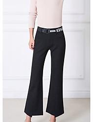billige -kvinders slanke chinos / bootcut bukser - solid farvet høj talje