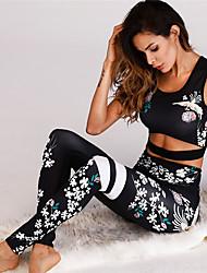 cheap -Women's Sexy 2pcs Yoga Suit - Black, Khaki Sports Floral / Botanical High Rise Tights / Leggings / Bra Top Dance, Running, Fitness Sleeveless Activewear Sweat-wicking, Butt Lift, Tummy Control