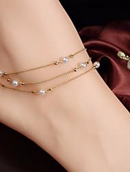 abordables -Perlas de agua dulce Cuentas Cadena para Pierna Simple, Dulce, Elegante Mujer Dorado Joyería Corporal Para Diario / Noche