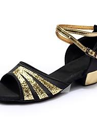 baratos -Mulheres Sapatos de Dança Latina Cetim / Couro Envernizado Sandália / Salto Recortes Salto Grosso Personalizável Sapatos de Dança Preto