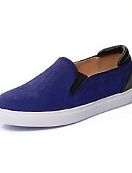 baratos -Mulheres Sapatos Pêlo de Cavalo Outono & inverno Conforto Mocassins e Slip-Ons Sem Salto Preto / Azul / Leopardo