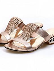 levne -Dámské Boty Nappa Leather Léto Pohodlné Sandály Nízký podpatek Zlatá / Stříbrná