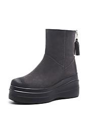 Недорогие -Жен. Замша Наступила зима Удобная обувь Ботинки Туфли на танкетке Черный / Серый
