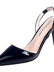 Недорогие -Жен. Обувь Полиуретан Лето Туфли лодочки Обувь на каблуках На шпильке Заостренный носок Черный / Бежевый / Красный