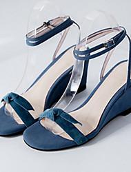 cheap -Women's Shoes Sheepskin Summer Comfort / Basic Pump Sandals Wedge Heel Black / Light Blue / Almond