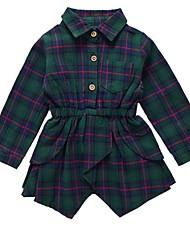 cheap -Baby Girls' Check Long Sleeve Dress