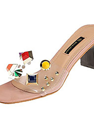 cheap -Women's Shoes PU(Polyurethane) Summer Slingback Sandals Chunky Heel Rivet Black / Beige / Pink / Color Block