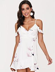 baratos -Mulheres Feriado / Praia Rodado Vestido Floral Com Alças Mini / Verão