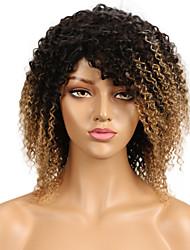 abordables -Cheveux Rémy Dentelle frontale Perruque Cheveux Brésiliens Kinky Curly Perruque 130% Ligne de Cheveux Naturelle / Avec des noeuds blanchis Femme Mid Length Perruque Naturelle Dentelle