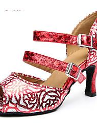 Недорогие -Жен. Обувь для латины Искусственная кожа На каблуках Тонкий высокий каблук Танцевальная обувь Темно-Серый / Красный