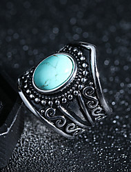 cheap -Women's Turquoise / Obsidian Vintage Style / Solitaire Statement Ring / Ring - Creative Vintage, Punk, Hyperbole 6 / 7 / 8 Black / Light Green For Professional / Festival