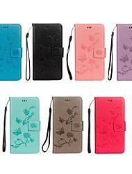 Недорогие -Кейс для Назначение Huawei Y6 (2018) / Y5 III(Y5 2017) Кошелек / Бумажник для карт / со стендом Чехол Бабочка / Цветы Твердый Кожа PU для Y9 (2018)(Enjoy 8 Plus) / Huawei Y7 Prime(Enjoy 7 Plus