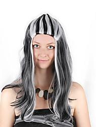 billige -Syntetiske parykker / Kostumeparykker Krøllet Bob frisure Syntetisk hår 28 inch Cosplay / Blød / Dame Mørkegrå / Hvid Paryk Dame Lang Maskinproduceret