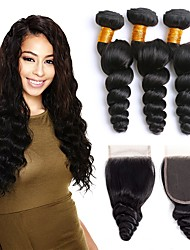 cheap -3 Bundles with Closure Malaysian Hair Loose Wave Human Hair Natural Color Hair Weaves / Hair Bulk / One Pack Solution / Hair Weft with Closure 8-22 inch Natural Color Human Hair Weaves 4x4 Closure