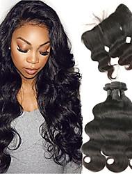 cheap -3 Bundles with Closure Malaysian Hair Body Wave Human Hair Human Hair Extensions / Hair Weft with Closure 8-26 inch Human Hair Weaves 4x13 Closure Soft / Best Quality / New Arrival Human Hair