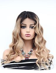 baratos -Cabelo Remy Frente de Malha Peruca Cabelo Brasileiro Ondulado Peruca Corte Assimétrico 130% Feminino / Vestir fácil / Lady sexy Mulheres Muito longo Perucas de Cabelo Natural