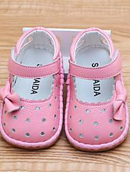 Недорогие -Девочки Обувь Кожа Лето Обувь для малышей На плокой подошве Бант / На липучках для Дети Белый / Красный / Розовый