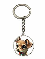 cheap -Dog Keychain Silver Circle Silica Gel, Alloy Simple, Fashion For Daily / Date