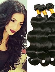 cheap -3 Bundles Brazilian Hair Body Wave Human Hair Headpiece / Natural Color Hair Weaves / Hair Bulk / Extension 8-28 inch Black Natural Color Human Hair Weaves Machine Made Smooth / Best Quality / Hot