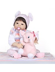 Недорогие -NPKCOLLECTION Куклы реборн Девочки 24 дюймовый Полный силикон для тела Силикон - как живой Подарок Искусственная имплантация Коричневые глаза Детские Девочки Игрушки Подарок
