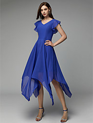 cheap -A-Line V Neck Asymmetrical Chiffon Cocktail Party Dress with Pleats by TS Couture®