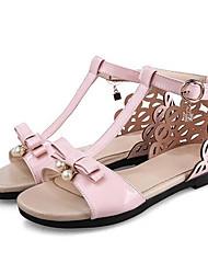 baratos -Mulheres Sapatos Couro Ecológico Verão Conforto Sandálias Salto Baixo Preto / Prata / Rosa claro