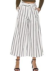 abordables -Femme Rétro Taille haute Coton Ample Ample / Chino Pantalon Rayé / Sortie