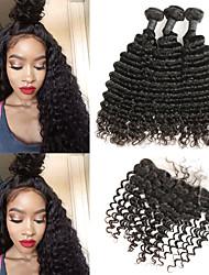 cheap -3 Bundles with Closure Malaysian Hair Deep Curly Human Hair Human Hair Extensions / Hair Weft with Closure 8-22 inch Human Hair Weaves Best Quality / New Arrival / Hot Sale Human Hair Extensions