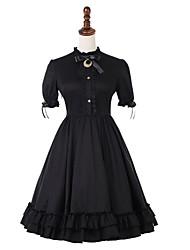 Недорогие -Случайное платье Лолита Винтаж Готика Жен. Платья Косплей Черный Буфф / баллон С короткими рукавами Midi костюмы