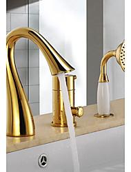 Недорогие -Смеситель для ванны - Подставка / Фиксированный Ti-PVD Ванна и душ Керамический клапан Bath Shower Mixer Taps / Три ручки Три отверстия
