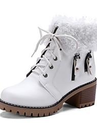 baratos -Mulheres Sapatos Couro Ecológico Outono & inverno Botas da Moda Botas Salto Robusto Botas Curtas / Ankle Branco / Preto / Marron