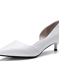 cheap -Women's Nappa Leather Spring Basic Pump Heels Low Heel White / Black / Gray