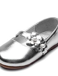 abordables -Fille Chaussures Faux Cuir / Matière synthétique Printemps & Automne Confort / Chaussures de Demoiselle d'Honneur Fille Ballerines Fleur / Scotch Magique pour Enfants Or / Argent / Soirée & Evénement