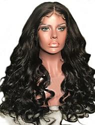 Недорогие -Натуральные волосы Лента спереди Парик Бразильские волосы / Бирманские волосы Свободные волны Парик 130% Женский / Легко туалетный / Лучшее качество Нейтральный Жен. Длинные