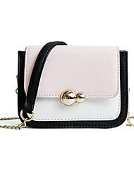 baratos -Mulheres Bolsas PU Bolsa de Ombro Botões / Bloco de Cor Geométrica Rosa / Bege / Khaki