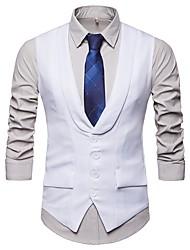 abordables -Homme Vacances / Anniversaire Actif / Basique Printemps & Automne Court gilet, Couleur Pleine Col en V Sans Manches Polyester Blanc / Noir / Gris L / XL / XXL / Mince