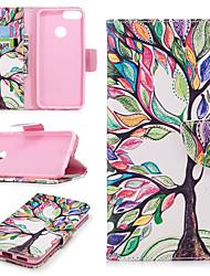 preiswerte -Hülle Für Huawei P smart Geldbeutel / Kreditkartenfächer / mit Halterung Ganzkörper-Gehäuse Baum Hart PU-Leder für P smart