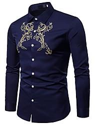 Недорогие -Муж. Вышивка Рубашка Винтаж / Богемный В клетку