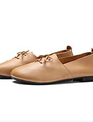 cheap -Women's Nappa Leather Spring Basic Pump Heels Flat Heel Beige / Pink / Camel