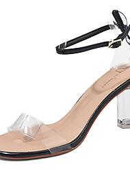 baratos -Mulheres Couro Ecológico Primavera Verão Shoe transparente Sandálias Salto Robusto Presilha Preto / Amarelo / Amêndoa